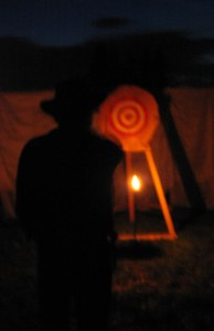 Knife throwing at night - you don't see how your knives land in the target (or don't).