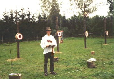 The contest site, Christian Prestin with some trophies.