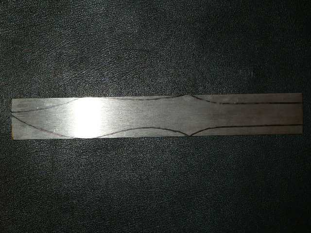 That's how the raw throwing knife looks on the steel.