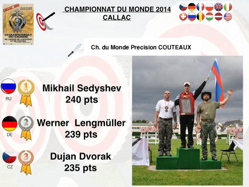 Podium world championship precision knife throwing male