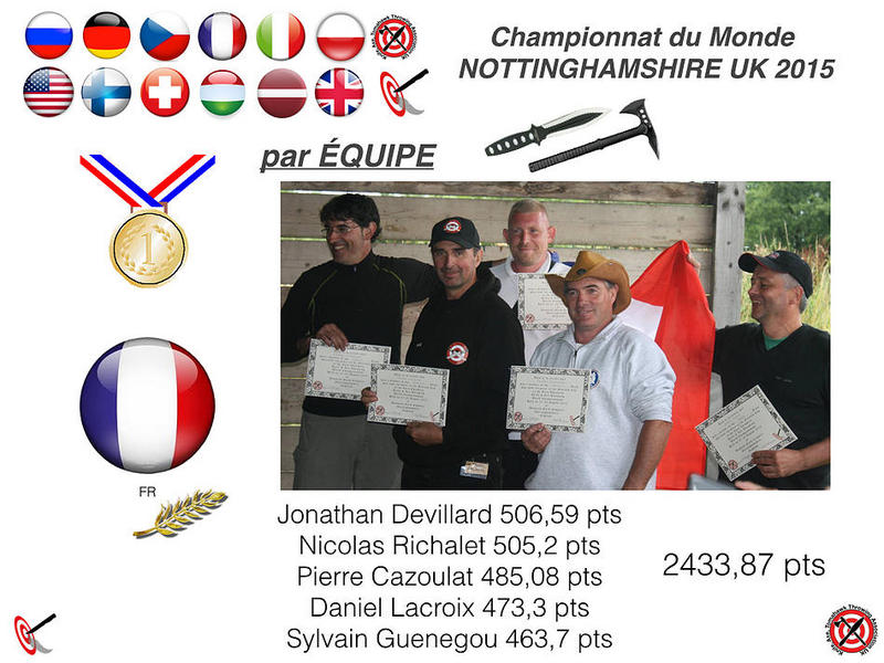 Podium Ranking of Nations (knives and axes combined); First rank: France; Team: Pierre, Daniel Lacroix, Jonathan Devillard, Sylvain Guenegou, Nicolas Richalet