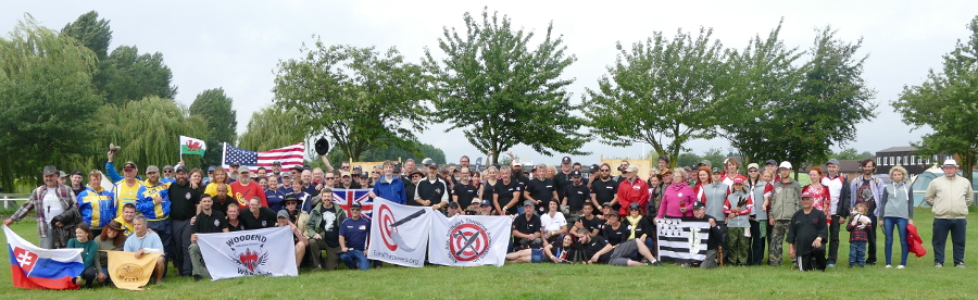 Group photo of the participants of the 19th World Championship in Knife Throwing and Axe Throwing 2019. Click for larger image.